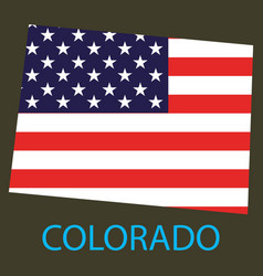 Colorado state of america with map flag print vector