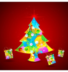 Colorful Christmas Tree and Gift vector image