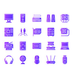 computer simple purple gradient icons set vector image