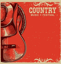 Country music card with cowboy hat and guitar on vector