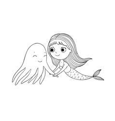 Cute cartoon mermaid and octopus siren sea theme vector