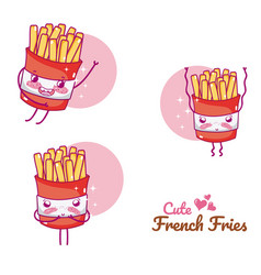 cute french fries cartoons vector image