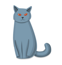 cute grey cat icon cartoon style vector image