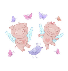 cute pigs angels in cartoon style funny vector image
