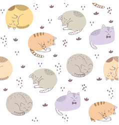 cute seamless pattern colorful cat vector image