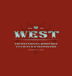 decorative extended serif font in western style vector image