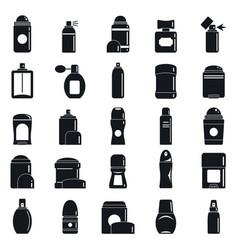 Deodorant spray icons set simple style vector