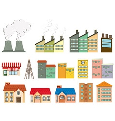 Different kind buildings vector