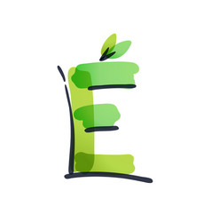 E letter ecology logo with green leaves vector