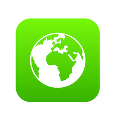 earth globe icon digital green vector image