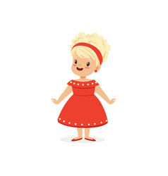 Elegant blonde little girl posing in red dress vector