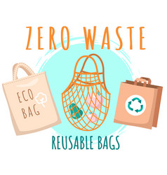 Fabric eco-friendly bag with products inside zero vector
