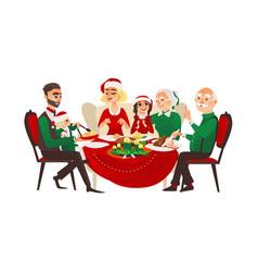 family celebrating christmas holiday vector image