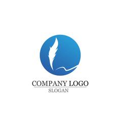 Feather pen write sign logo template app icons vector
