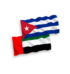 Flags united arab emirates and cuba on a white vector