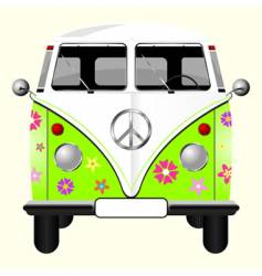 flowered hippie van vector image