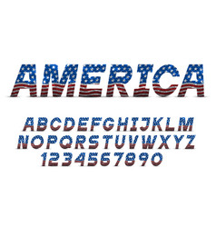 Font with usa flag grange texture alphabet vector