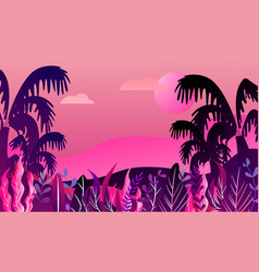Futuristic tropical landscape with palm trees and vector