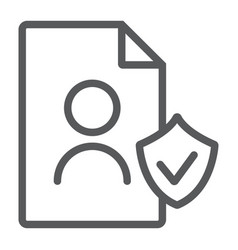 gdpr personall data line icon private and gdpr vector image
