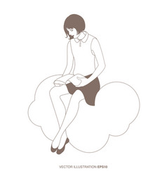 Girl reading sitting on a cloud the sky and the vector