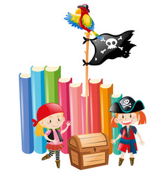 girls dressed up as pirate crews vector image