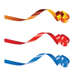 Gold red and blue curling ribbons vector