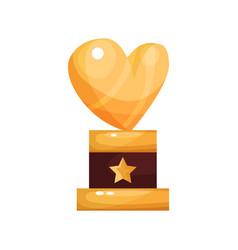 golden heart award trophy statuette cartoon vector image
