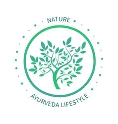 Green circle tree logo design template vector image