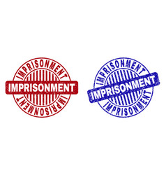 Grunge imprisonment scratched round stamp seals vector