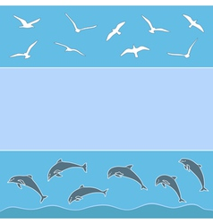 Gulls and dolphins vector