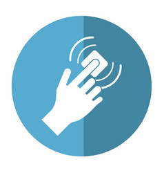 Hand touch button wifi graphic button shadow vector