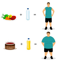 Healthy lifestyle the choice thin and fat vector