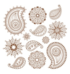 henna tattoo mehndi doodle elements set vector image