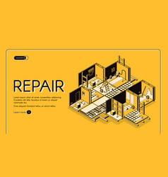 house repair company isometric website vector image