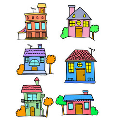 House set colorful cartoon design vector