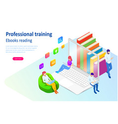 isometric concept for digital reading e-classroom vector image