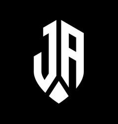 ja logo monogram with emblem shield style design vector image