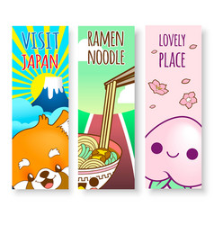 Japan cute doodle sticker and background vector