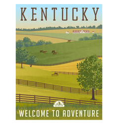Kentucky horse farm retro travel poster vector