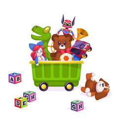 Kids toys box toy kid child play game bear vector