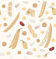 legumes seamless pattern in flat design beans vector image