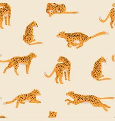 leopard animal cheetah still in motion pattern vector image