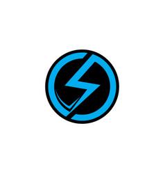 letter s thunder circle geometric logo s vector image