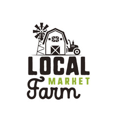Local farm market logo design and label template vector