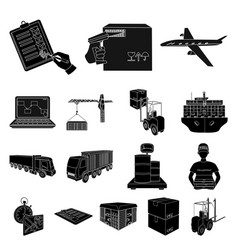 logistics and delivery black icons in set vector image