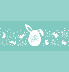 Lovely hand drawn easter design with bunnies eggs vector