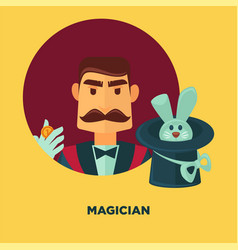 Magician promotional poster with man and rabbit in vector