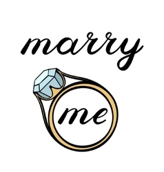Marry me lettering Cute handwriting vector image