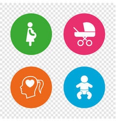 Maternity icons baby infant pregnancy buggy vector