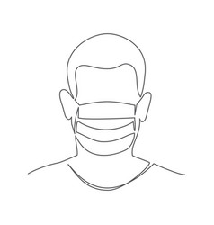 medical mask one line drawing medical mask vector image